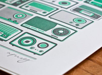letterpress printed green and grey ink Pump Up The Volume card