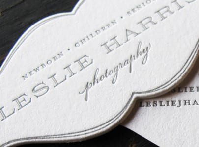 letterpress die cut business card for Leslie Harris photography