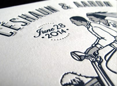 letterpress wedding invite two color for ceshaun & aaron