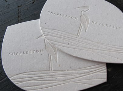 die cut letterpress business card for charleston naturally
