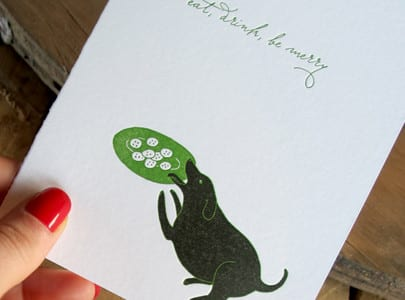 letterpress holiday greeting card dog eat drink be merry