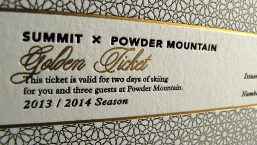 letterpress and offset printed ticket with gold foil