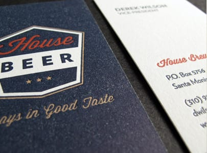letterpress business card three color with blue flood