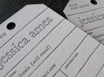die cut letterpress printed tag for jessica ames