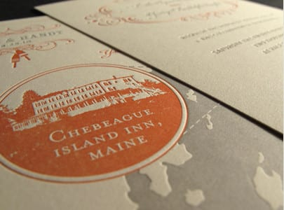 two color letterpress wedding invite for leslie and randy