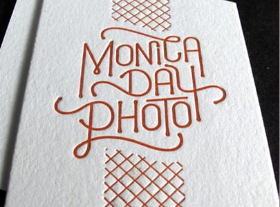 die cut letterpress business card red ink on white paper for monica day photo