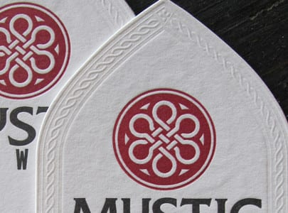 letterpress business card die cut with blind deboss for Mystic Brewery