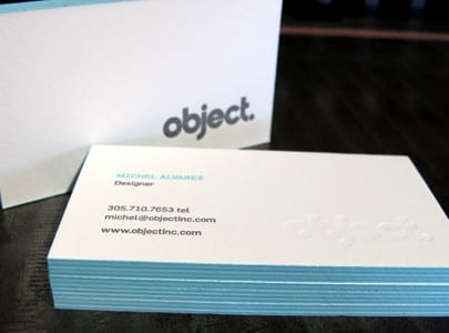 letterpress printed business card for object, blind deboss with blue ink and edge painting