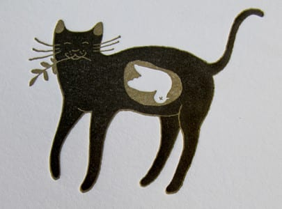 letterpress printed greeting card Peace Be With You cat