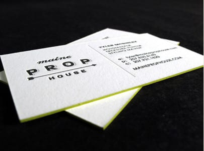 letterpress business card black and blind deboss for maine prop house
