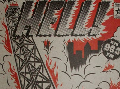 letterpress printed small poster for x96 Radio From Hell