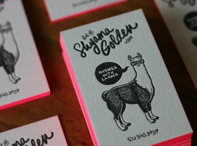 letterpress printed business cards black ink on white paper for Shyama Golden
