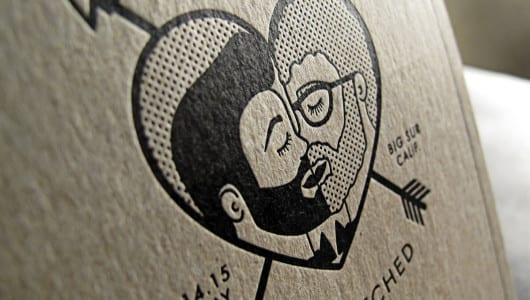 letterpress wedding invite black ink on kraft paper