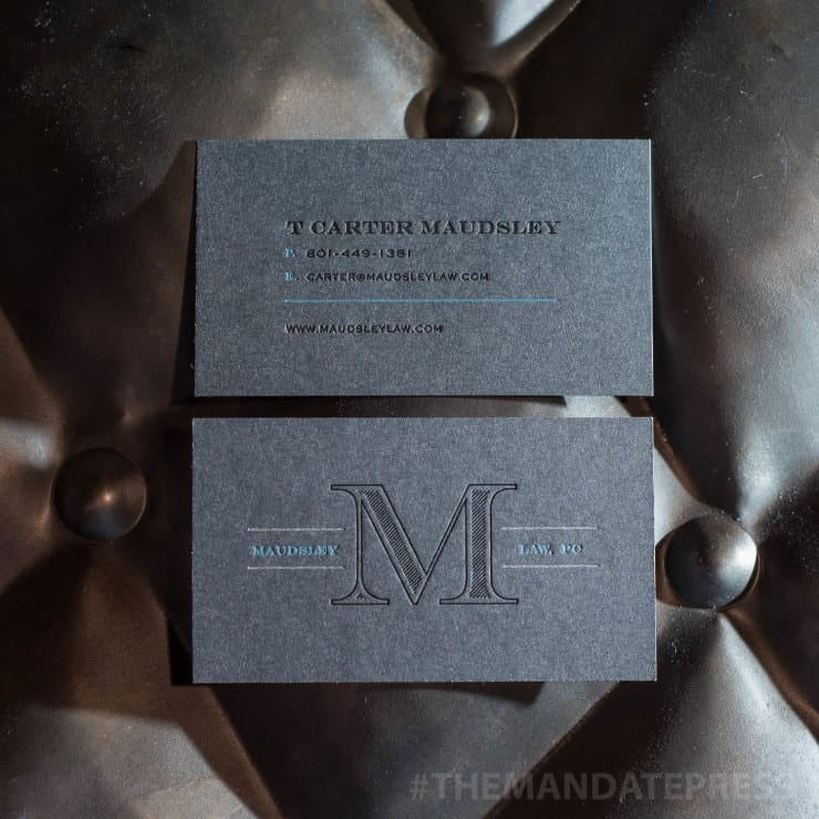 Business cards category the mandate press professional custom business card printed on grey paper with black and blue ink reheart Images