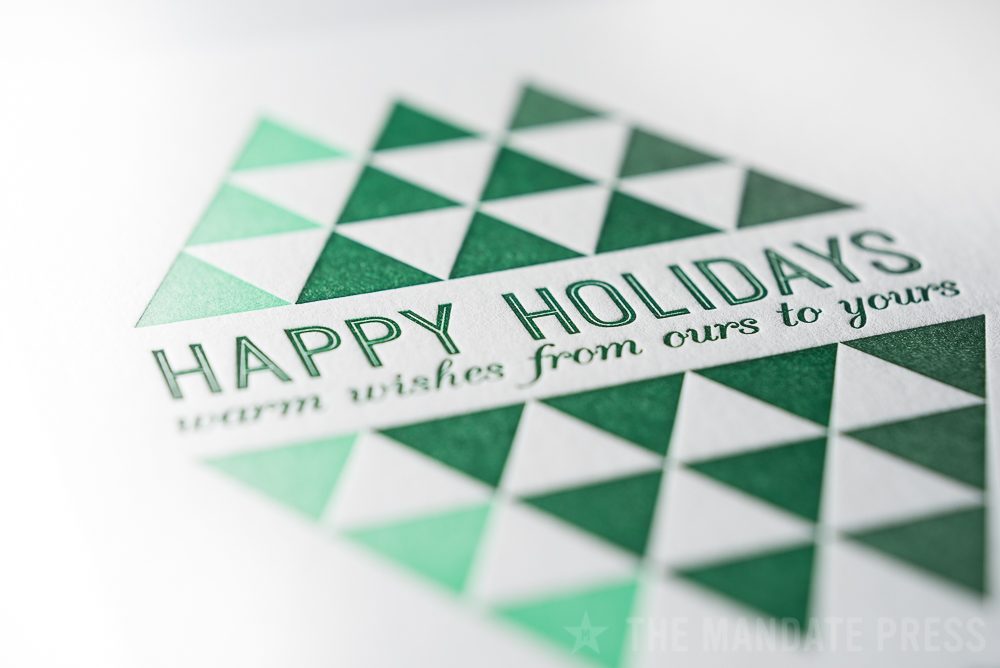image of overprint letterpress holiday card with green ink