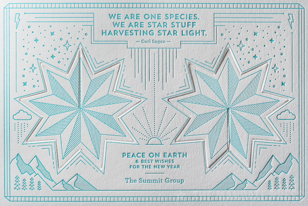 image of letterpress printed holiday card with die-cut pop out ornament