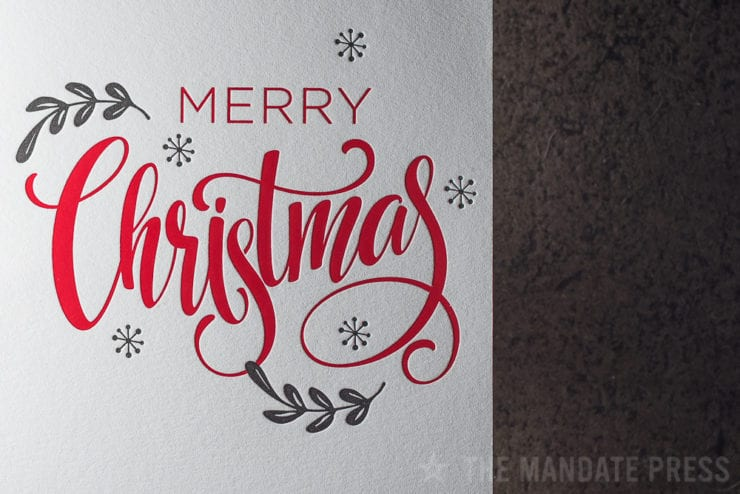image of red letterpress deboss foil christmas design The Mandate Press Salt Lake City
