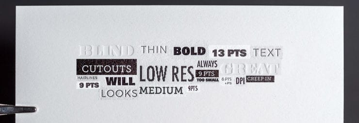 different deboss letterpress type examples to avoid using