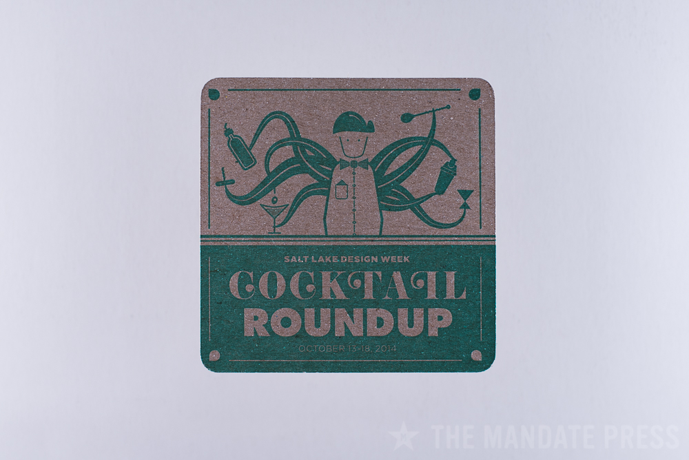 letterpress printed coaster green ink on chipboard for cocktail roundup