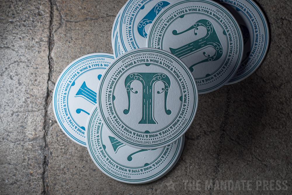 letterpress printed coaster set on 222# Gmund grey paper for AIGA Las Vegas