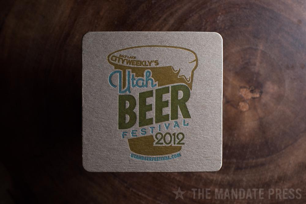 letterpress printed coaster two color on chipboard for Utah Beer Festival