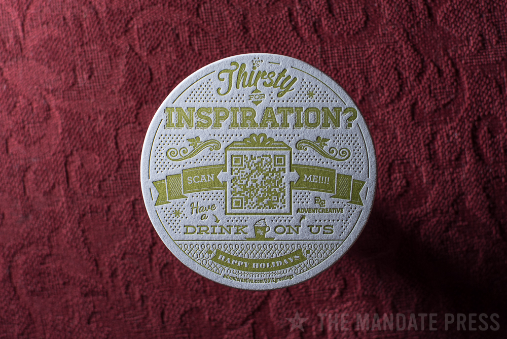 letterpress printed coaster with QR code green ink