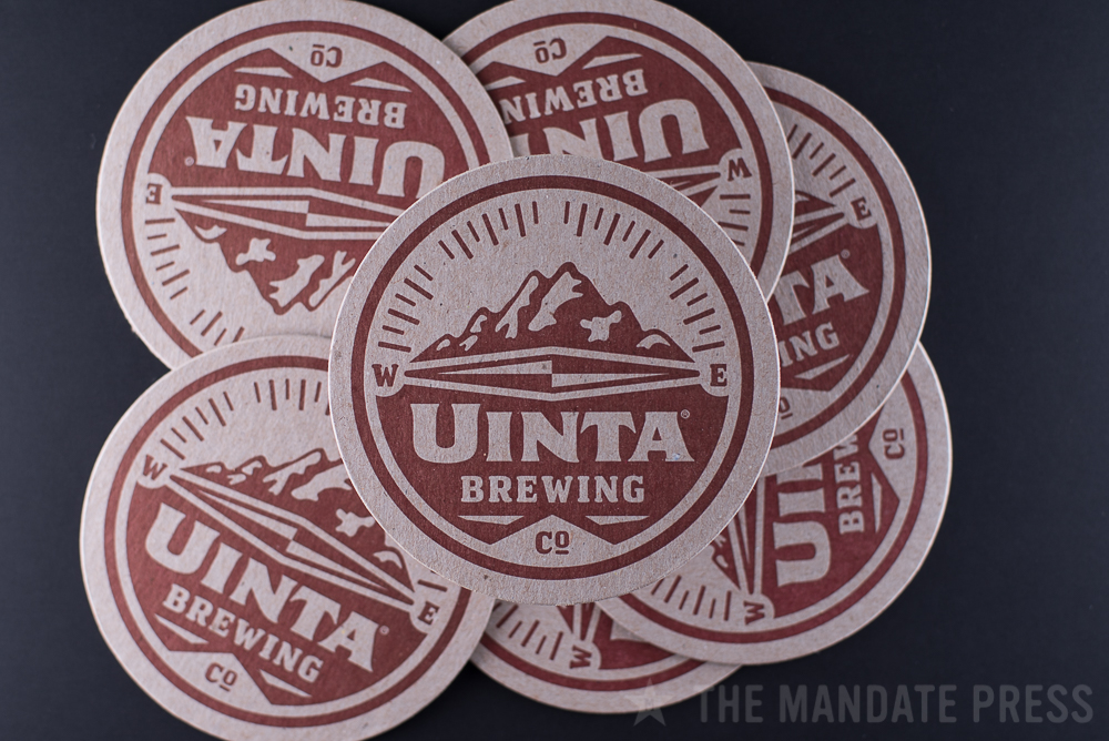 letterpress printed round coasters for Uinta Brewing on chipboard