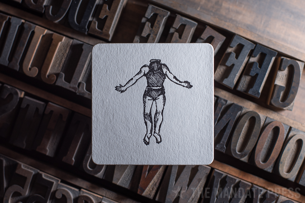 letterpress printed square coaster black ink on white paper for The Rest Salt Lake City