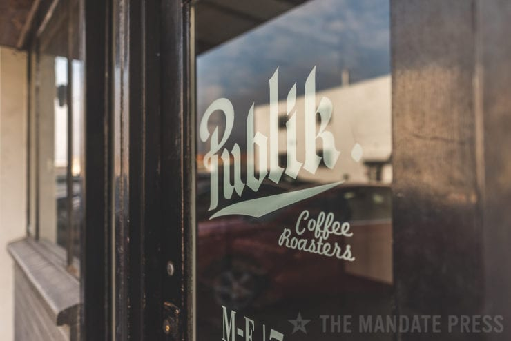 front door of publik coffee roasters downtown salt lake city