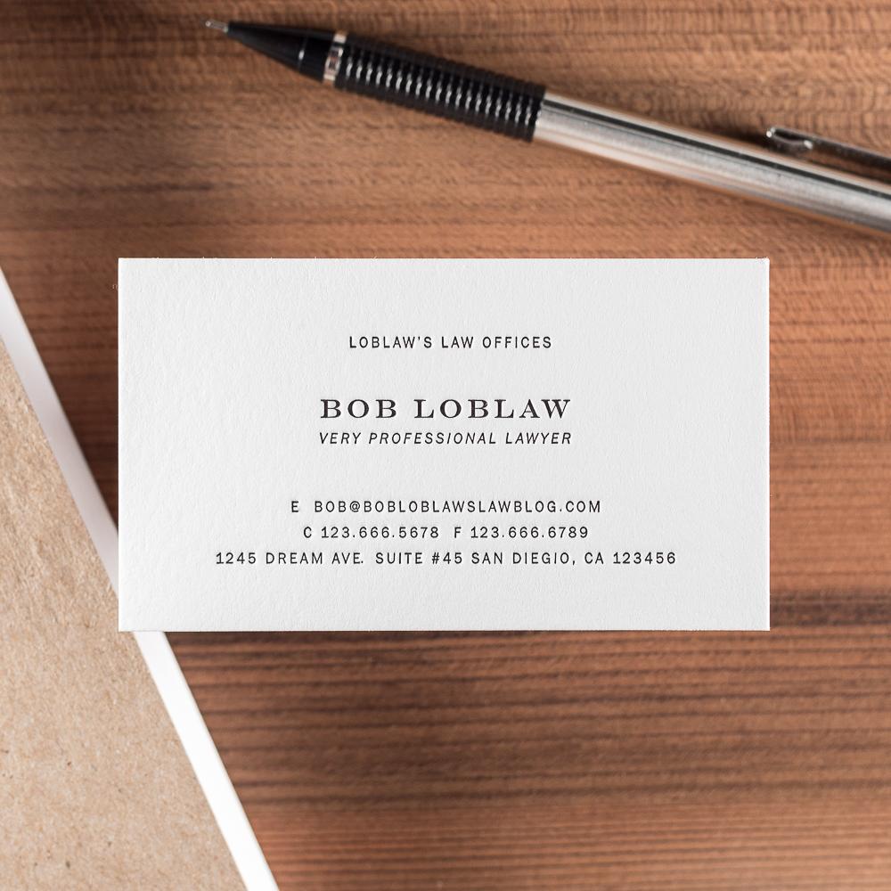 letterpress business card for bob loblaw black ink