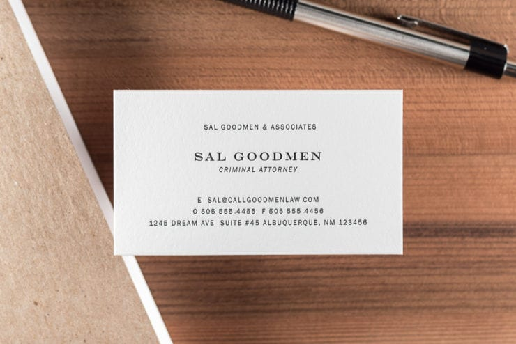 New online letterpress calling cards the mandate press letterpress business card with black ink saul goodman reheart Gallery