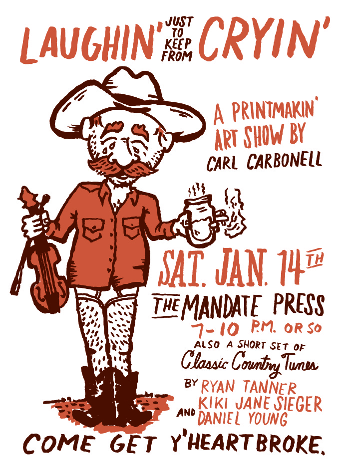carl carbonell art show poster january 14th 2017
