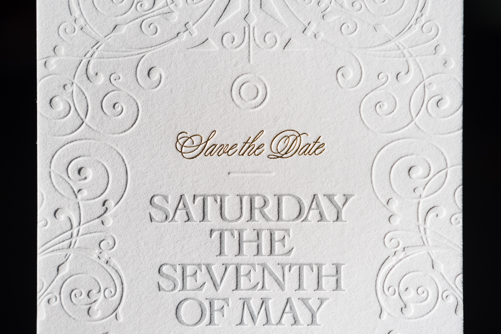 letterpress blind emboss with gold foil wedding save the date