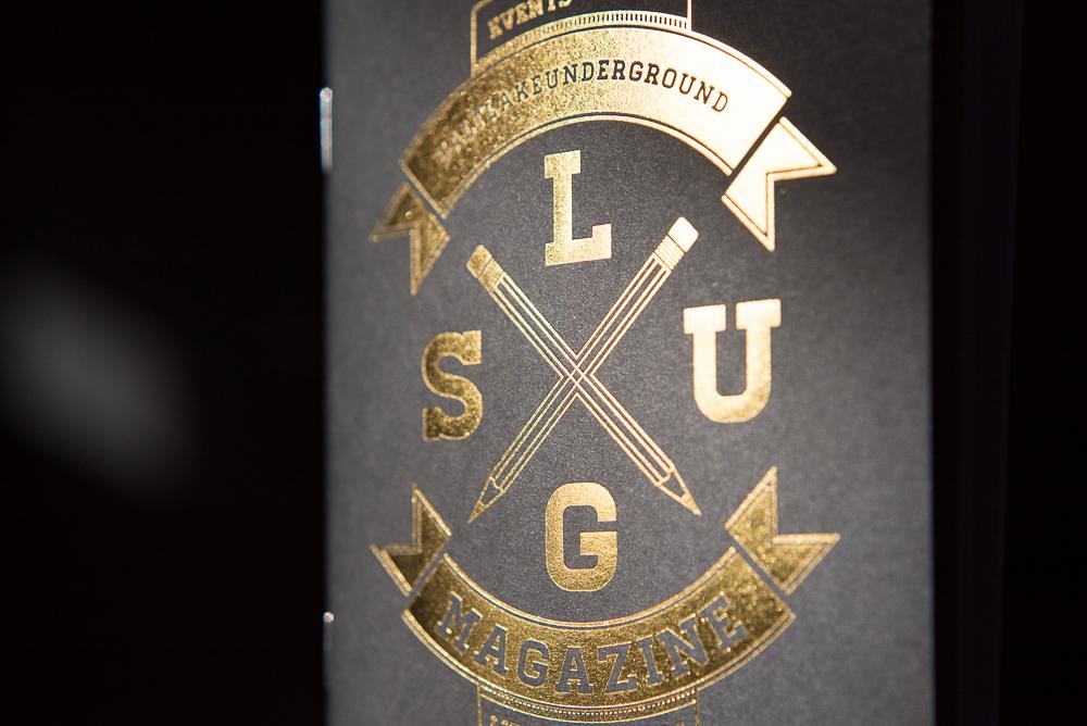 Letterpress printed gold foil on black paper notebook cover