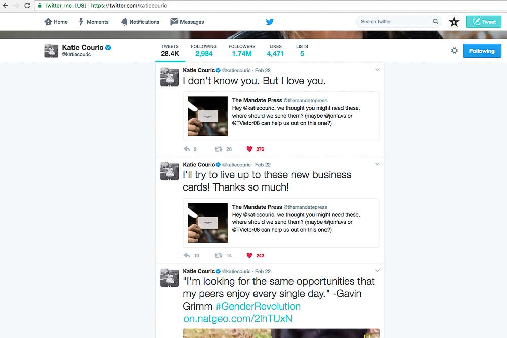 screenshot of Katie Couric loving The Mandate Press