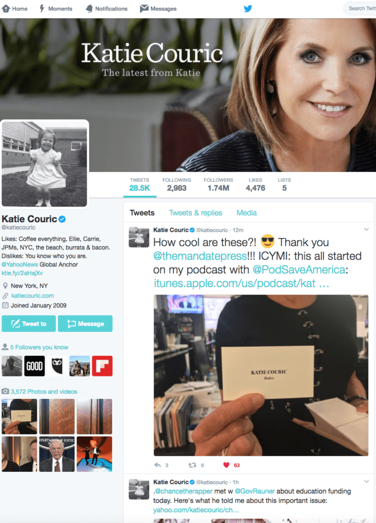 Katie Couric tweet about letterpress business cards from The Mandate Press