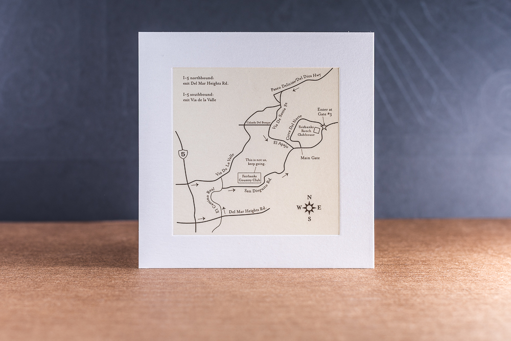letterpress printed wedding invite map with deboss