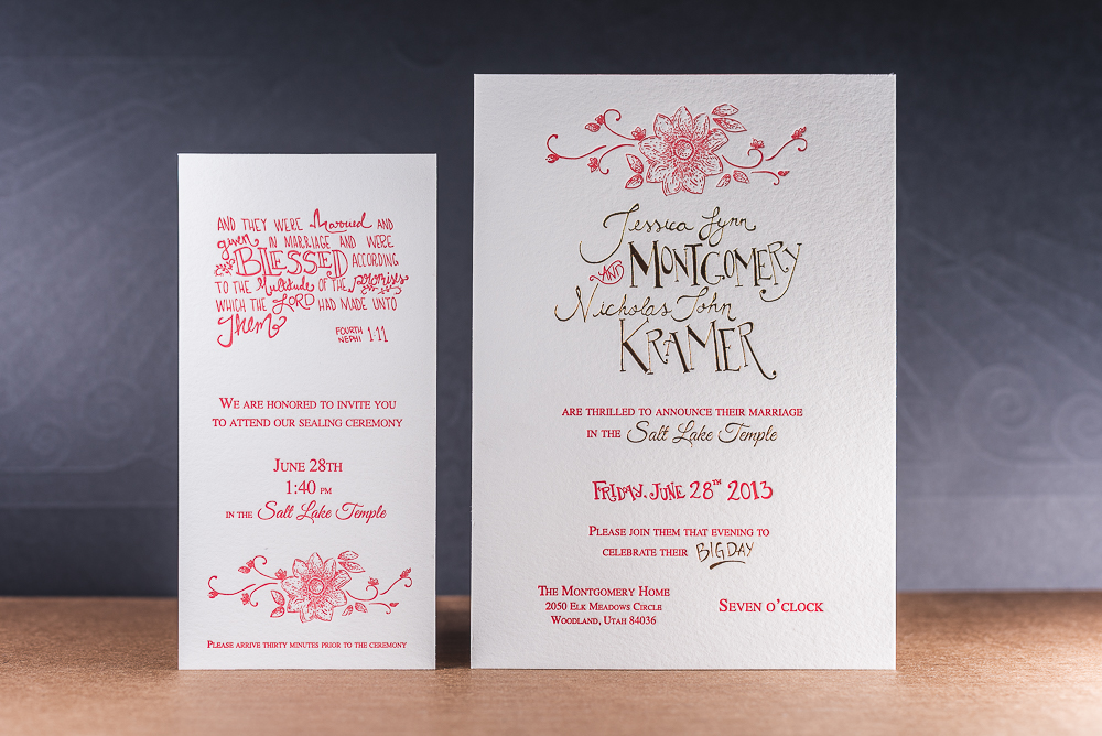 custom lettered wedding invite letterpress printed with red ink and gold foil