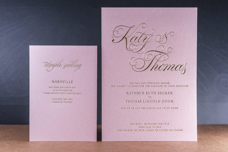 gold foil on pink stardream metallic paper wedding invite