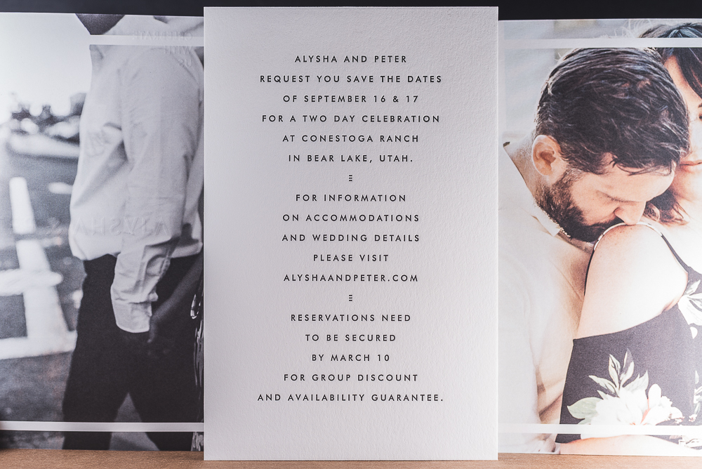 wedding invitation with offset printed images and letterpress printed insert