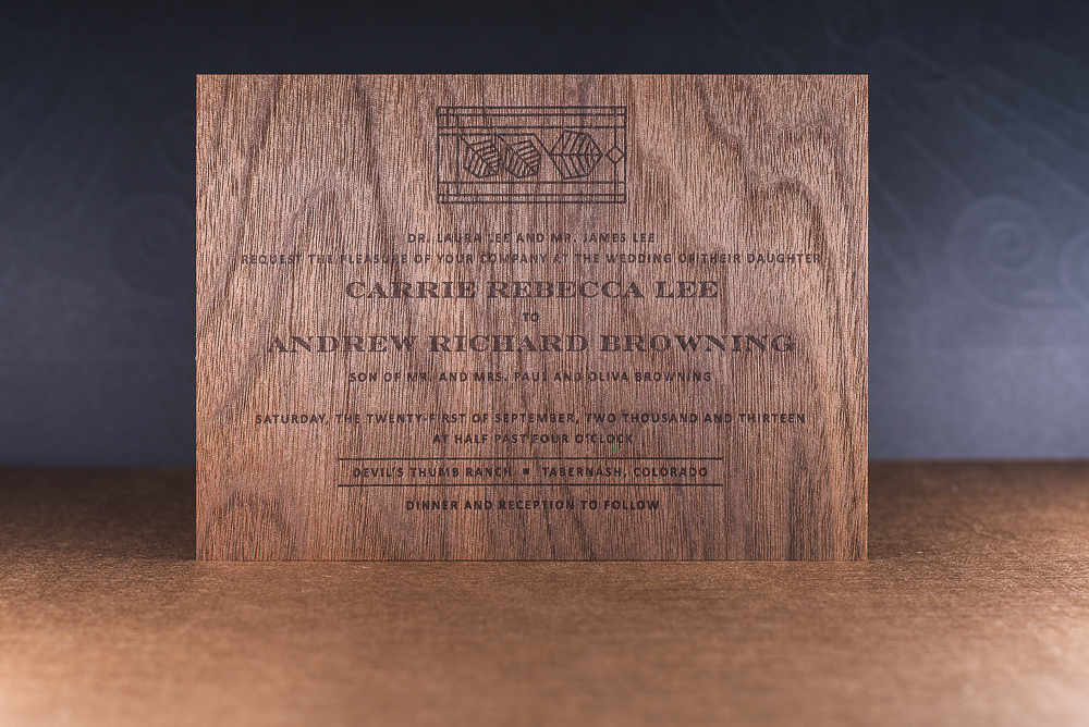 letterpress printed wood veneer wedding inviation
