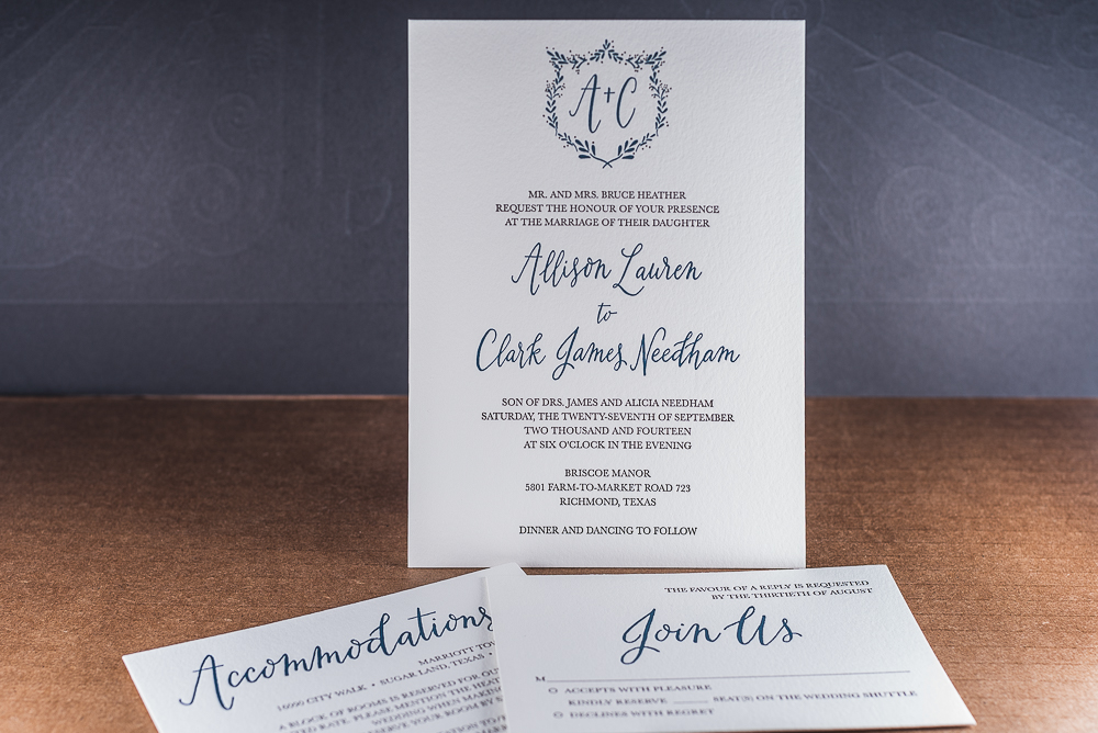 letterpress printed wedding suite with blue calligraphy on white paper