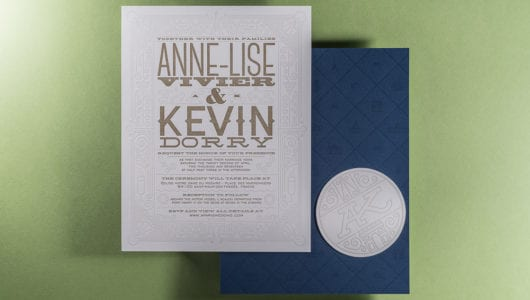 Letterpress printed wedding invitation with coaster on duplexed paper