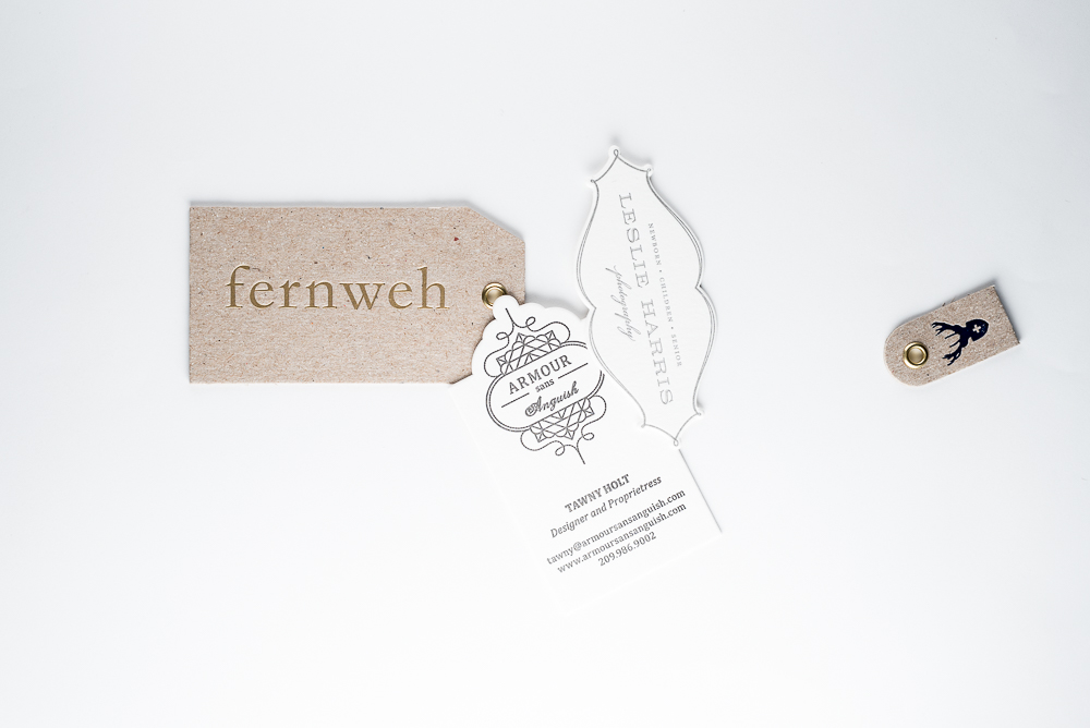 die cut custom shaped tags letterpress printed