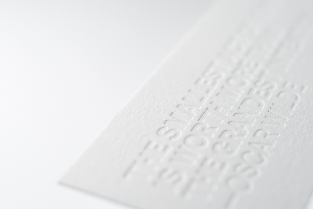 close up of inkless blind letterpress