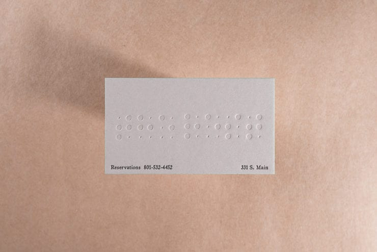 letterpress blind braille business card