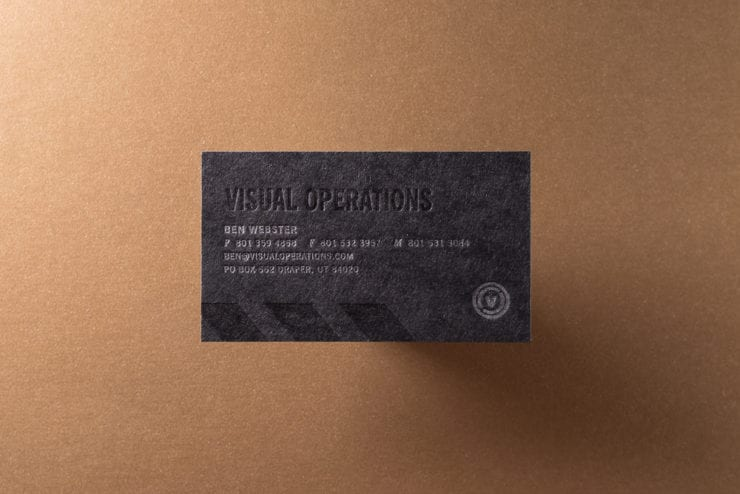 business card with silver ink and varnish