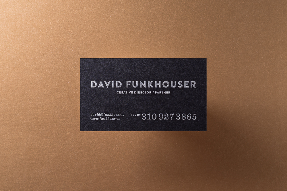 black paper white ink engraved business card