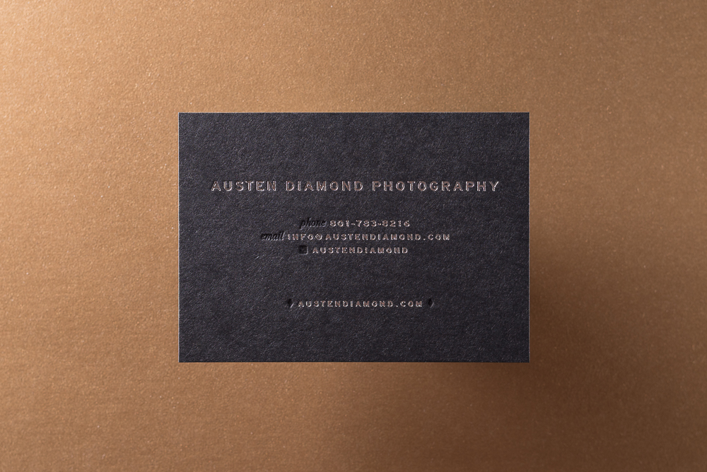business card on black paper