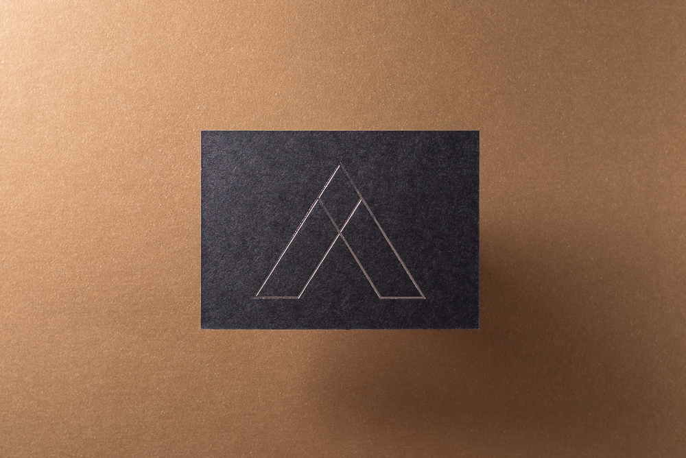 Business Card with silver foil logo